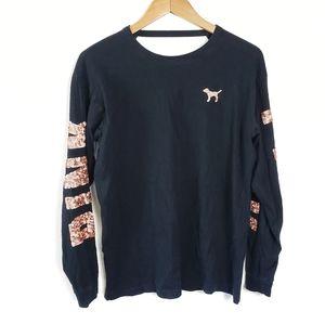 PINK VICTORIA'S SECRET Black Sequin Sparkly Shirt